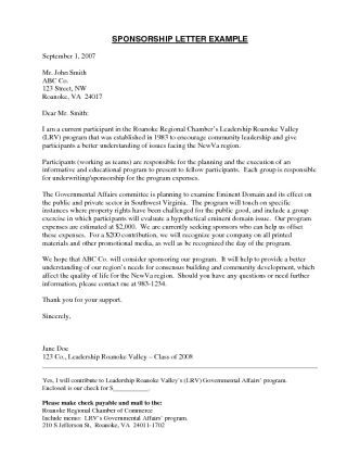 How to Write a Grant Proposal for a Non-Profit Organization - letter of sponsorship template