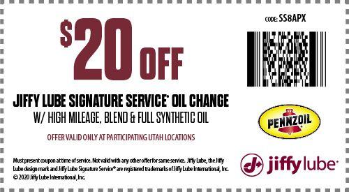 Jiffy Lube Utah Oil Change Coupon Oil Change Lube Utah