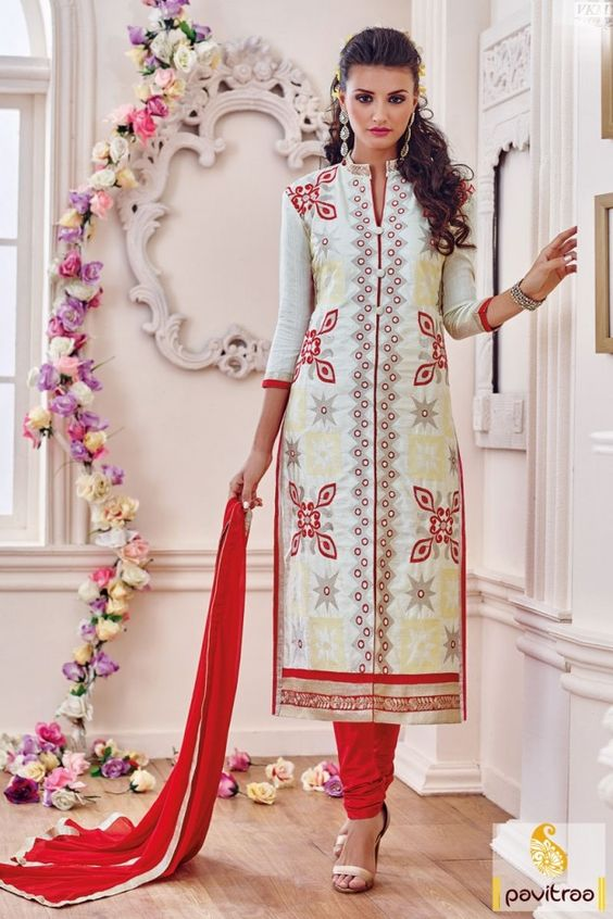 Fancy cotton chiffon cream straight salwar kameez is very fashionable. Buy this long size embroidery party wear salwar suit in lowest price from our website. #salwarsuit, #casualsalwarsuits more: http://www.pavitraa.in/store/casual-salwar-suits/