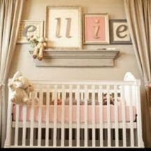 Romantic vintage salmon pink brown and mossy green baby girl nursery room - Click image to find more Home Decor Pinterest pins