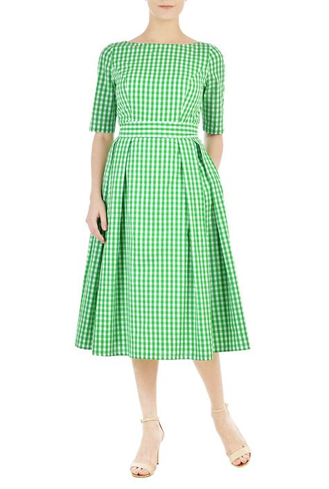 Cotton gingham check bow belted dress from eShakti