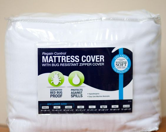 Not sure what that blue dorm mattress has on it. No problem. Cover it up and forgettaboutit.