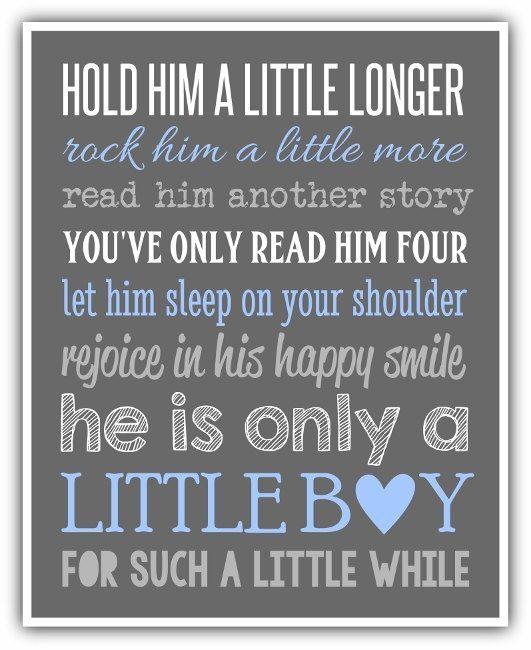 HOLD HIM a little longer print - personalized colors - Boy wall art print.  Boy nursery, little boy print. playroom art baby shower gift