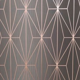 KAYLA METALLIC GEOMETRIC WALLPAPER GREY ROSE GOLD MURIVA 703013