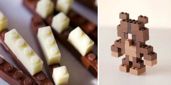 Lego pieces made out of chocolate