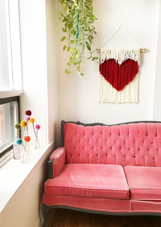 DIY Heart String Wall Art by the Sweet Escape #valentine #valentinesday
