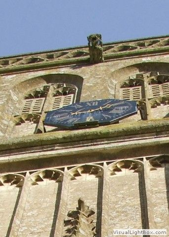 The famous one handed clock on the tower - St John the Baptist Church Colerne