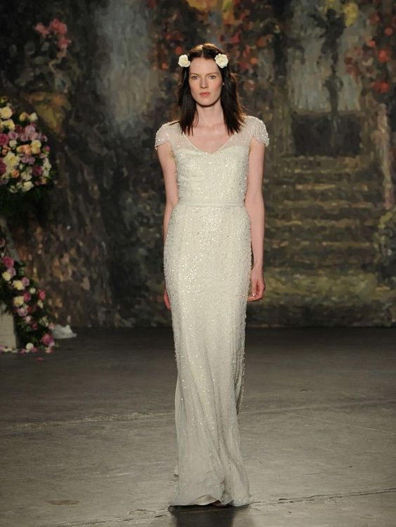 Jenny Packham Spring 2016 wedding dress - - Jenny Packham beaded rosette wedding dress with sheer short sleeves from Spring 2016 | fabmood.com: