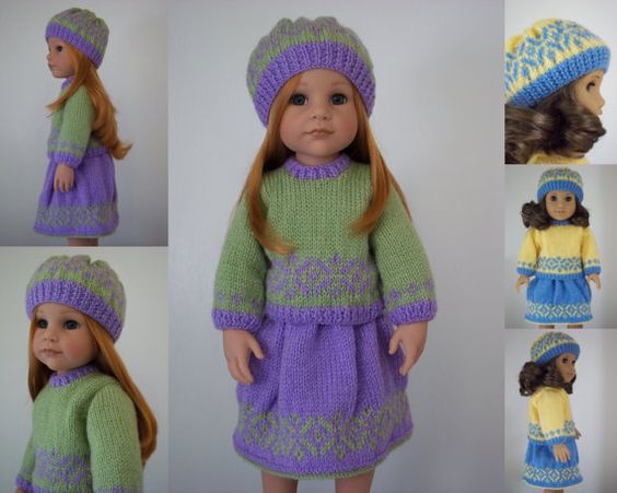 "Spring Joy - pdf doll clothes knitting pattern for 18"" American Girl Doll & 19.5"" Gotz Sarah/Hannah"