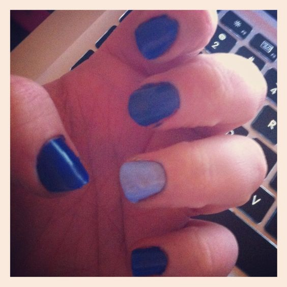 Current nails: Insta-This by Color Club and accent nail: Bikini So Teeny by Essie. #BlueOnBlue
