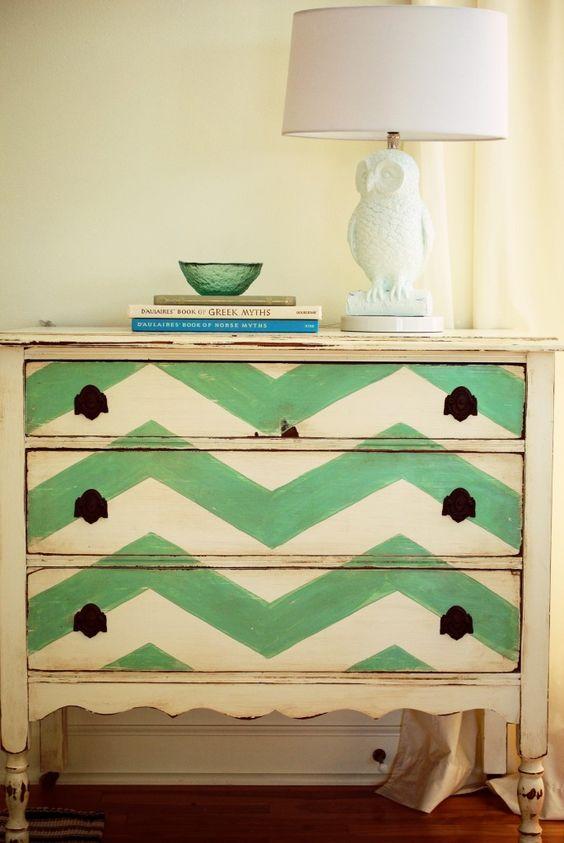chevron painted dresser using tape