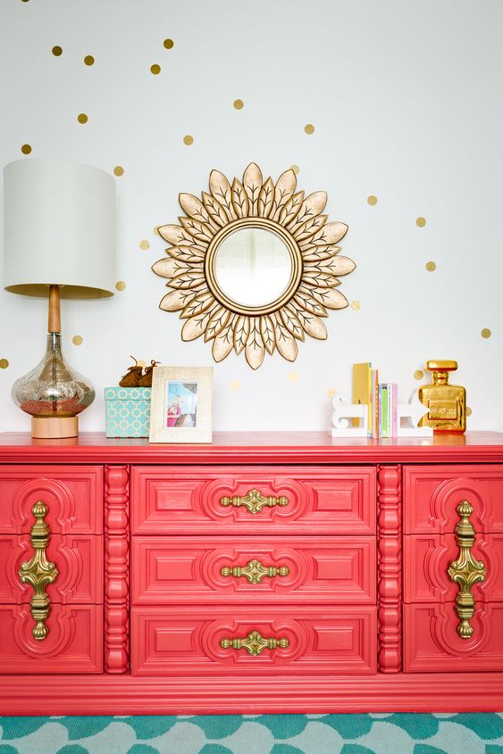 Vintage Coral Dresser and Gold Nursery Accents - gorgeous!