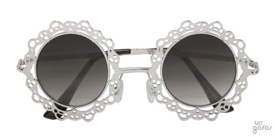 Óculos De Sol Redondo Em Metal Imitando Renda    Ui! Gafas
