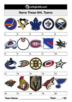 Picture Trivia Round Nhl Sport Team Logos In 2020 Trivia Rounds Sports Team Logos Trivia Events