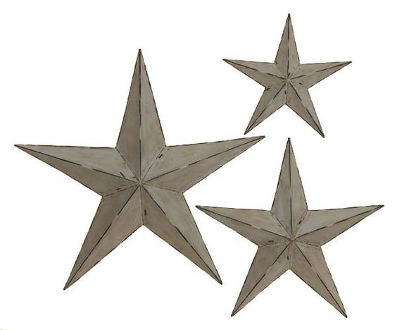 This rustic-looking grey star wall decor set is handcrafted. There are three stars in different sizes, all in three-dimensional pop out form. There are hooks attached to the back of each star, making it easy to hang them up in a room.