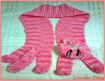 cachecol de trico infantil modelo gatinho