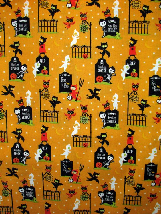 Riley Blake Costume Clubhouse Graveyard fabric by fabricfrantic, $7.95