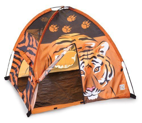 """Pacific Play Tents Tigeriffic Tent, Orange by Pacific Play Tents. Save 32 Off!. $44.96. From the Manufacturer                Our Tigeriffic Tent features great Tigers of the jungle graphics. Perfect for indoor or outdoor play. Two tunnel ports with roll up flaps that secure with Velcro allow your child to escape the dangers of the jungle. Tent size 48"""" X 48"""" X 42"""" high.                                    Product Description                Enter the imaginary realm of the Tigers of the j..."""