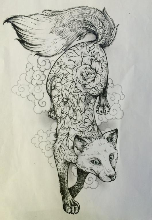 dessin tatouage renard graphique