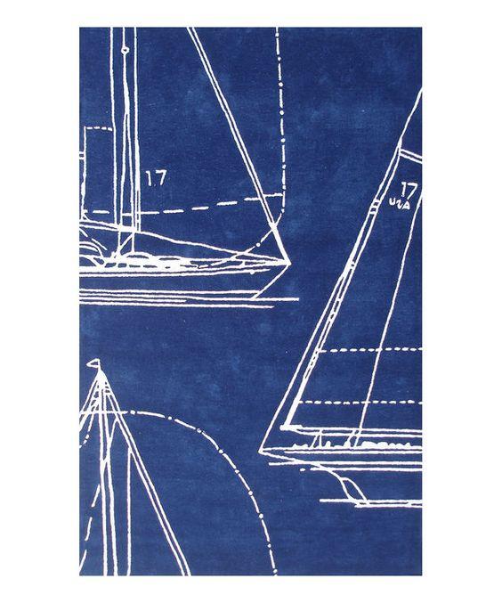 Blue & White Sail Away Rug | zulily