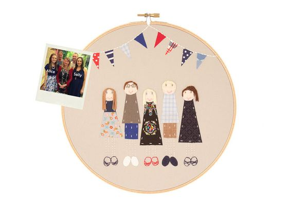 Absolutely in love with these custom embroidered family portraits on Etsy!