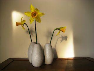 Daffodillies in vintage vases