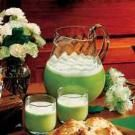 Lime sherbet punch--would be fun for St Patty's Day! We also had this at my son's welcoming shower--very cute for a boy shower :)