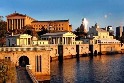 Along the Schuylkill Banks find the Philadelphia Museum of Art, The Fairmount Water Works Interpretive Center and the elegant Water Works Restaurant and Lounge. The views from here are spectacular and especially romantic at dusk. (Photo compliments Water Works)