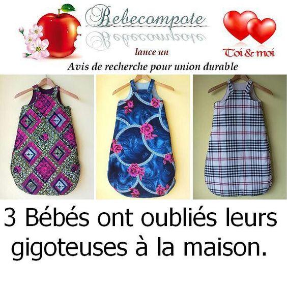 3 bébés ont oubliés leurs gigoteuses à la maison. Contacter: http://www.bebecompote.com.