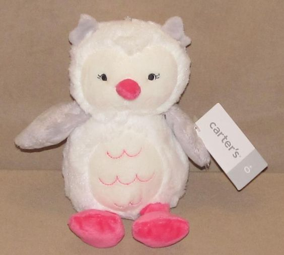 "Carters White Gray Hot Pink Owl Plush Stuffed Animal Baby 9"" Toy 15121 New NWT…"