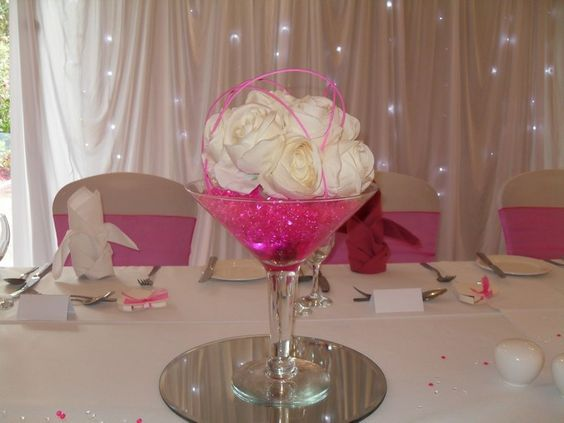 Wedding centrepieces and martini glass