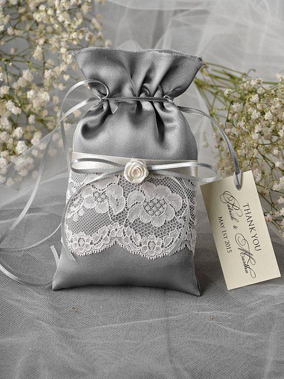 Custom listing (20) Lace Wedding Favor Bag, Grey Wedding Favour Bag, Lace Wedding Favour Bags, Vintage,