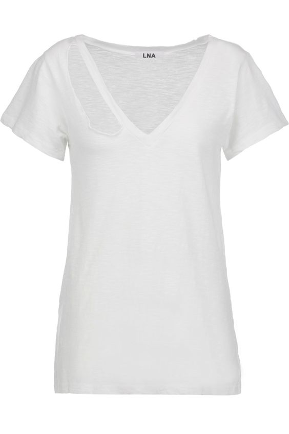 LNA Fallon cutout slub stretch-jersey T-shirt. #lna #cloth #t-shirt