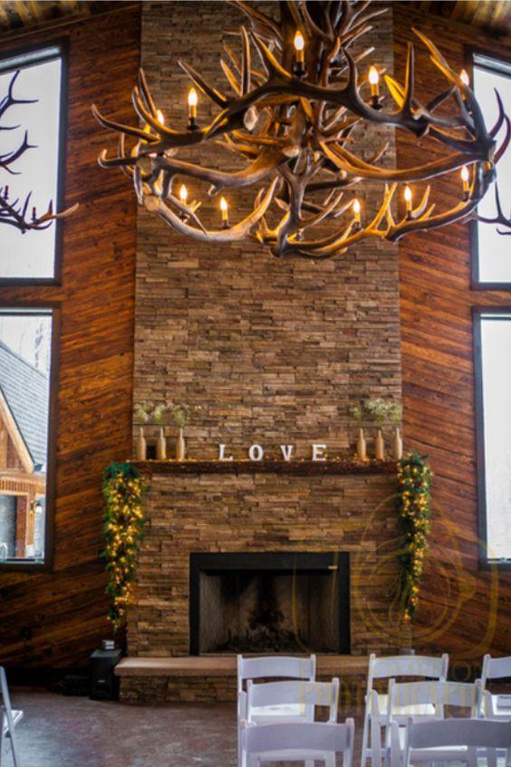 Rustic Wedding Lodge venue - Bemus Point, NY - LOVE Mantle