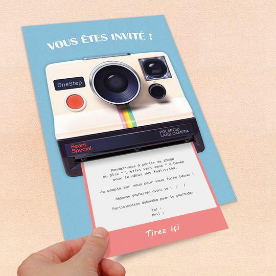 Invitation personnalisable pour anniversaire : thème polaroid retro : Faire-part par emilie-party