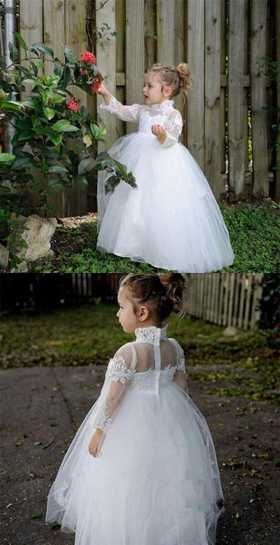 High Neck Long Sleeve Lace Applique Flower Girl Dresses A Line