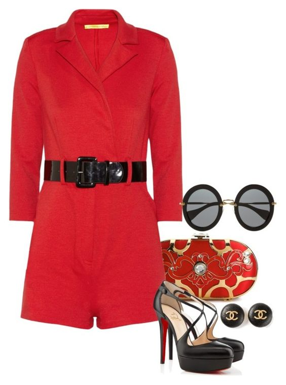 'Red Contest!' - Rompers. by foreverforbiddenromancefashion on Polyvore featuring Catherine Malandrino, Christian Louboutin, Lulu Townsend, Chanel and Miu Miu