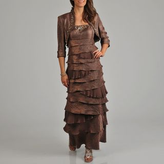 Ignite Evenings Women's Tiered Beaded 2-piece Long Dress Bolero Jacket Set | Overstock.com