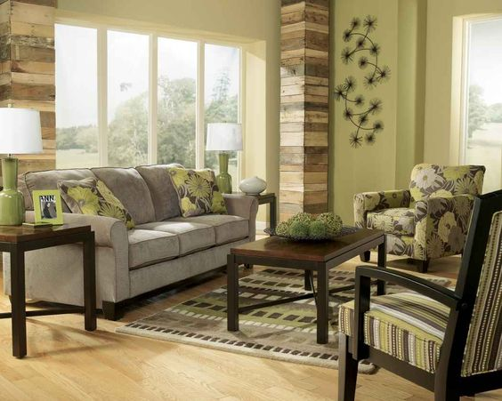 Earth Tone Living Room With Green Wall Paint And Gray Sofa For Earth Tone Color Design