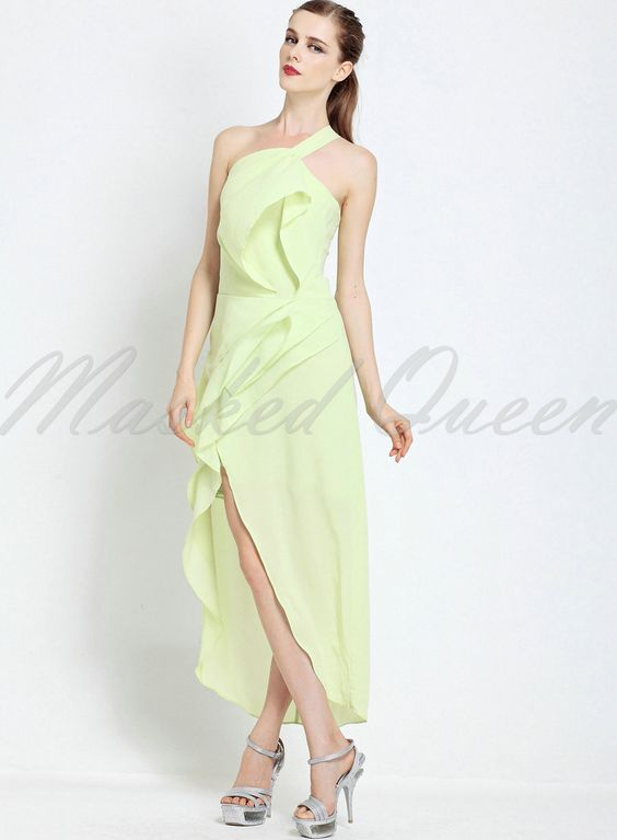 elegant fruit green halter straps chest wrapped chiffon long dress