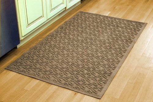 Aqua Shield Dogwood Leaf Mat Size: 3' x 5', Color: Gold by Bungalow. $68.12. Leaf design traps dirt, resists fading, rot and mildew. 36 in. L x 60 in. W x 0.5 in. H. Indoor and outdoor use. Color: Gold. 841640035 Size: 3' x 5', Color: Gold Features: -Surface material: Premium 24 oz. polypropylene.-Origin: USA.-Green friendly with over 20pct recycled rubber backing.-Low profile design allows most doors to glide easily over it.-Will not crush, fade, mold, mildew or rot.-Anti-st...