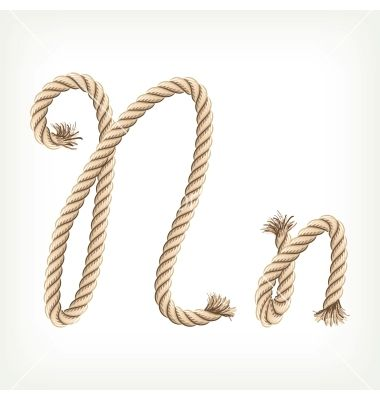 Typography - Rope Alphabet  - Letter N