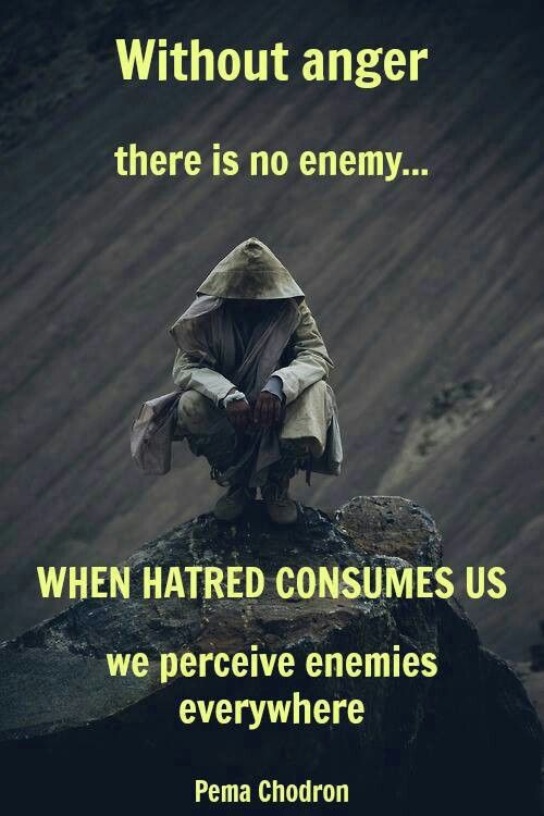 """""""without anger there is no enemy... when hatred consumes us we perceive enemies everywhere"""" More"""