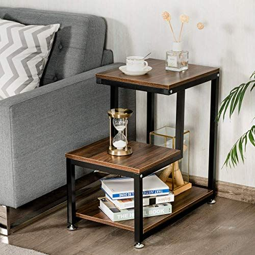 3 Tier Rustic Metal Frame Nightstand With Storage Shelf Living Room Side Table Living Room End Tables Side Table With Storage