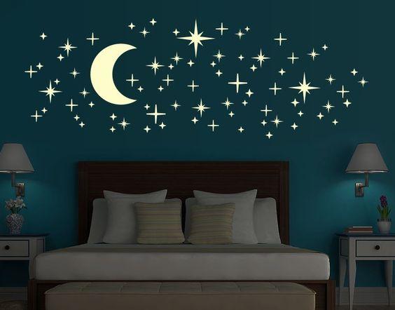leucht-wandtattoo-set romantischer sternenhimmel