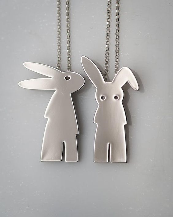 Silver or Gold rabbit necklace on sterling silver chain