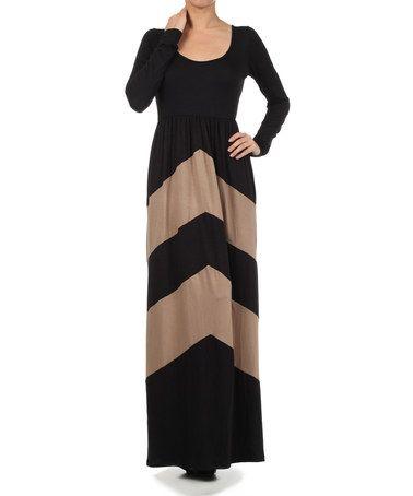 Love this Black & Mocha Chevron Maxi Dress on #zulily! #zulilyfinds