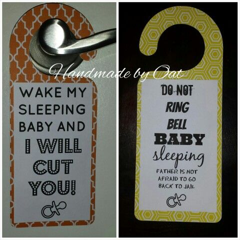 Shhh! Baby sleeping door hanger to use on my baby shower gift.Used my cricut explore and made the tag 2 sided depending on how much the new parents have slept they can use either side.