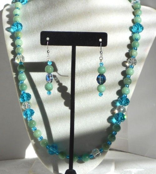 GORGEOUS AMAZONITE AND CRYSTAL NECKLACE AND EARRINGS NECKLACE IS 24'' INCHES  #Handmade