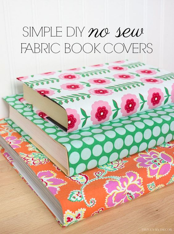 Create simple no-sew book covers using your favorite decorative fabrics, turning the ugliest of books into the perfect decorative accessories. #crafts #nosew #fabriccrafts